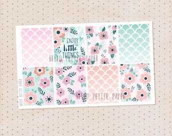 Decorative full box stickers - Bloom collection, quote version / 8 floral matte planner stickers