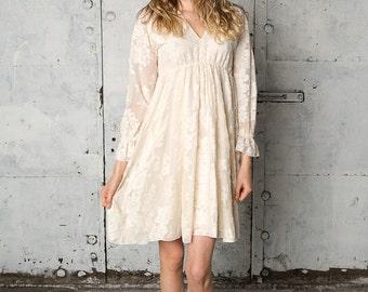 Long sleeved v-neck bohemian lace dress, Lucinda