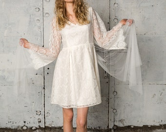 Bohemian sheer lace dress with big bell sleeves, Mila