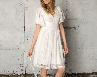 Short bohemian wedding dress with deep v-neckline, Rebekah