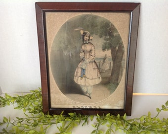 Hand Colored Lithograph Bloomer marked 1851