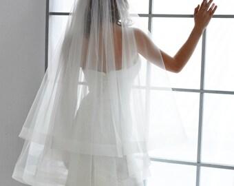 "wedding veil, horsehair veil, horsehair trim veil, 2"" trim veil, cathedral veil, drop veil, double layer veil, blusher veil, horse hair"