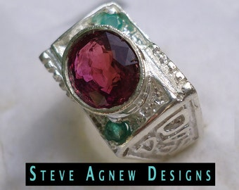 Rubilite Tourmaline and Emerald Ring