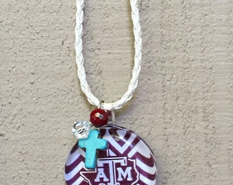 Aggie Necklace Texas A&M Jewelry Gameday Maroon White Chevron Turquoise Cross Charm Maroon Bead  Gig 'em Tailgating Game Day Wear Pendant