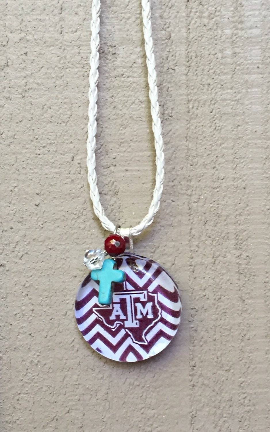 aggie necklace texas a m jewelry gameday maroon white chevron
