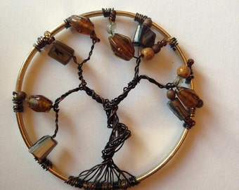 Black and copper tree of life pendant