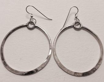 Sterling Silver Hoop Earrings, Handmade