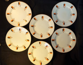 Art deco, six cream coloured Nimy plates,  fabrication belge made in Belgium with abstract design in red and black