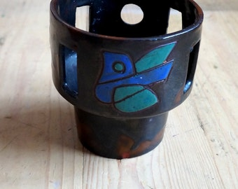 Very decoratie midcentury ceramic bird candle holder, art object, signed HP, abstract blue turquoise bird on brown