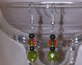 Minty green glass dangle earrings