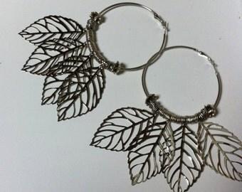 Tribal, Nature, hooped leaf earrings.