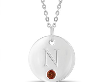 Initial N Disc Pendant With Personalized Birthstone In Sterling Silver