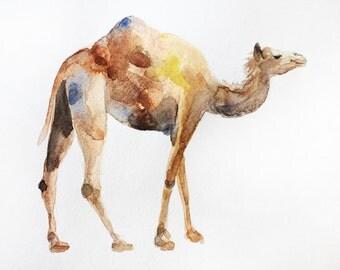 ORIGINAL Watercolor Camel art, Painting camel, wall decor, watercolor animal, Original Animal Art, for home decor art, Camel art OOAK