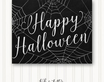 Happy Halloween Sign - Halloween Wall Decor - Halloween Art Print -  Halloween Printable - Halloween Chalkboard - 8x10 - Instant Download