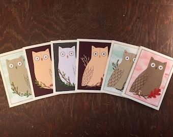 Handmade Owl Card Set