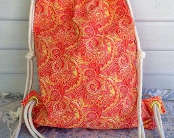Drawstring Bag, Backpack, Orange Paisley Drawstring Backpack