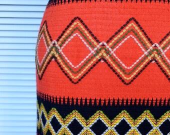 Vintage Red Maxi Skirt, Knitted Skirt, Long Skirt, Seventies Skirt