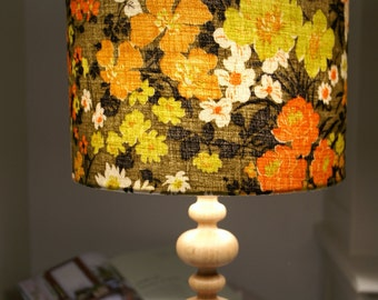Vintage Barkcloth - Autumn Gold Handmade Lampshade 30cm Drum
