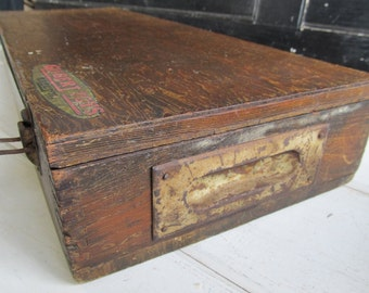 Vintage Wooden Gilbert Toy Erector Set Box, Rustic Box ,Toy Box ,Primitive Box