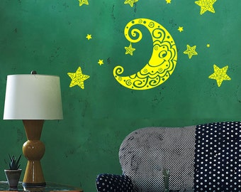 Wall Vinyl Decal Moon and Stars Night Sky Ethnic Sketch Style Drawing Astronomy Modern Home Decor (#1188dz)