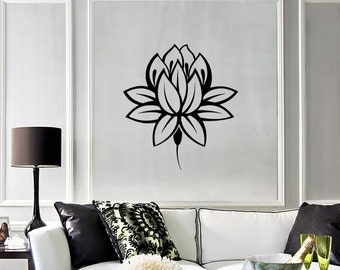 Wall Vinyl Decal Flower Lotus Padma Symbol Ornament Yoga Studio Floral Modern Abstract Home Art Decor (#1241di)