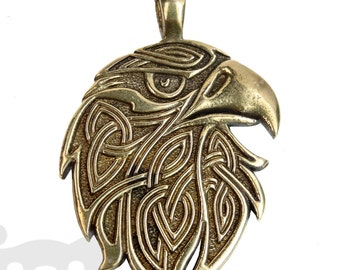 Eagle Pendant - Celtic Ornament - Ethnic -Predatory Bird - Amulet - Knot.Bronze.Sterling Oxidized Silver.American eagle