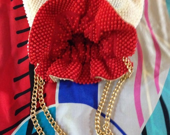 Ladies  Vintage Red & White Beaded Reversible Draw Chain Bag