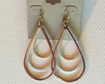 Tricolored Drop Earrings 2""