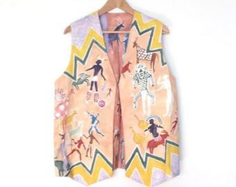SALE ITEM - Reversible Aboriginal Folk Art Vest / Ethnic Hand Painted Vest