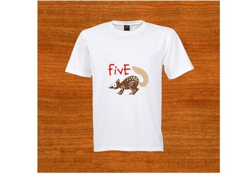 FIVE Birthday T-shirt. Toddler clothing. Quoll. Australia. 5th Birthday. Five year old. Fifth birthday. Baby shower gift. Clothing. Tshirt
