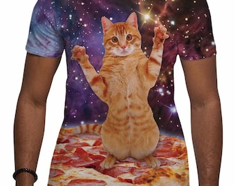 Men's Pizza Space Cat T Shirt All Over Print Festival Top Holiday Sublimation Tee Gifts for Him