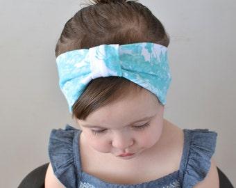 Baby Turban Headband, Blue Floral, Baby Headwrap, Toddler Headband, Child's Turban, Adult Turban Headband