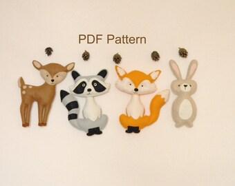 Woodland Animals PDF pattern, Felt Hand Sewing Fox Raccon Deer Bunny Plushie Pattern, Stuffed Animal Patterns, Instant Download PDF