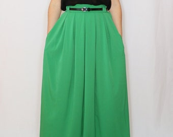 Long green skirt Women maxi skirt Chiffon skirt High waisted maxi skirt with pockets