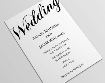 Simple wedding invitation template Minimalist wedding invitation Classic wedding invitation printable Black and white wedding invitation T52