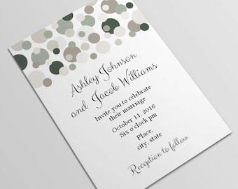 Gray and brown wedding invitation printable Smoke wedding invitation printed Instant download Modern wedding invitation card template T6
