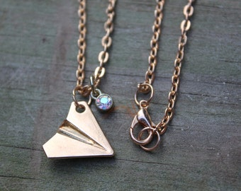 Gold Paper Airplane Necklace • Personalized w Birthstone Charm • 1D • Harry Styles • Taylor Swift Inspired • Aviation • Modern, Geometric