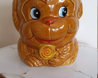 Monkey cookie jar, Japan ceramics, monkey container, kitchen kitsch, cookie jar, vintage cookie jar, vintage jar