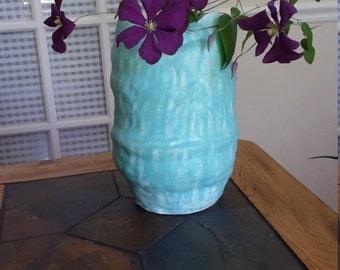 Aqua vase, turquoise vase, dimpled vase, robins egg blue, handmade vase, large vase, mid century vase