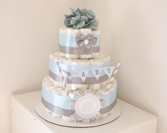 Baby BOY Elephant Diaper Cake / Shower Centerpiece / Elegant flower / blue gray chevron / for gift / tulle wrapping / cute / decoration