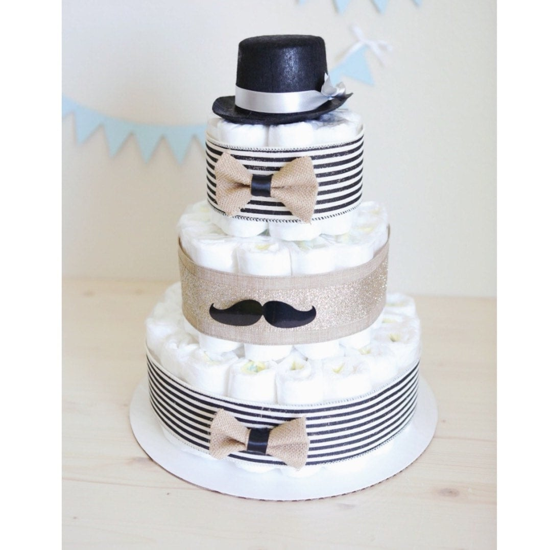 Mustache Diaper Cake For Baby Boy / Little Man Baby Shower Centerpiece  Decoration Unique Gift / Black Hat Gentle Man / Nursery Decor Bowtie