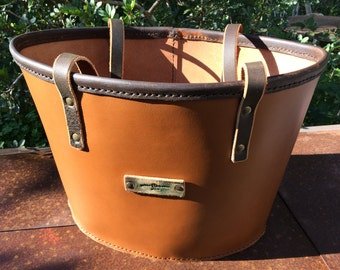 "Leather Basket Bag ""Can Furnet"" handmade by GABBI-ART.com"