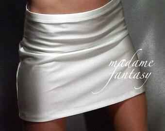 White shiny spandex hipster mini skirt