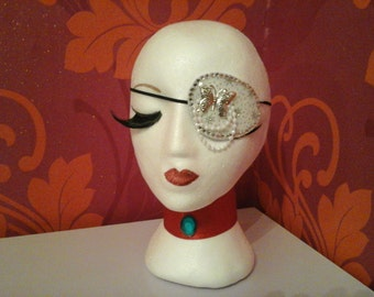 Sparkly white butterfly Eyepatch