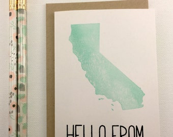 California - State Love Stationery - Four Bar Cards - Thank You, Hello From, With Love