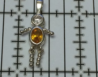 Sterling Silver 925 Pendant Birthstone Kid Orange 1.6g 5528