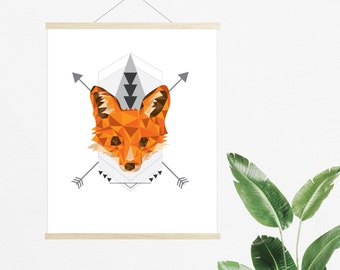 Fox, Downloadable Print, Modern Art, Printable Art, Instant Download, Geometric.
