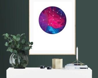 Geometric Space, Downloadable Print, Modern Art, Printable Art, Instant Download, Geometric.