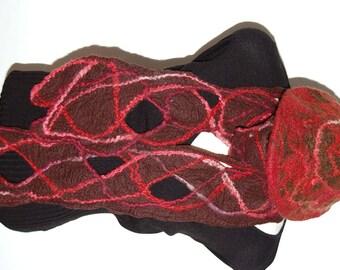Felted Hat Felted Scarf Wool Hat Wool Scarf Wool Felt Cap Celtic Hat Celtic Scarf Fiber Arts Brown Red Scarf Felt Cap Handmade Winter Hat