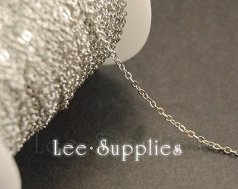 2mm Rhodium Plated Chain Flat Cable Bulk Jewelry Necklace Chain - Soldered C68